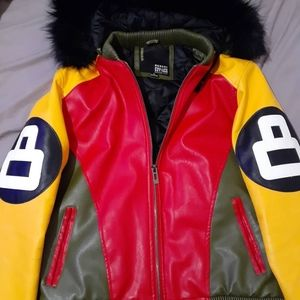 Mens leather 8ball jacket